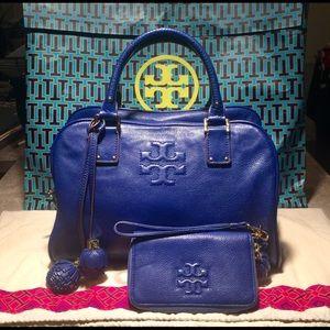 Tory Burch Jelly Blue Thea Top Zip Tassel Tote Bag